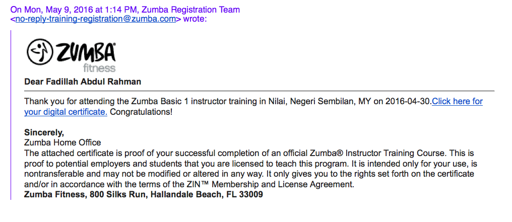 Coach Fadillah Officially Licensed To Teach Zumba Gofitwithme