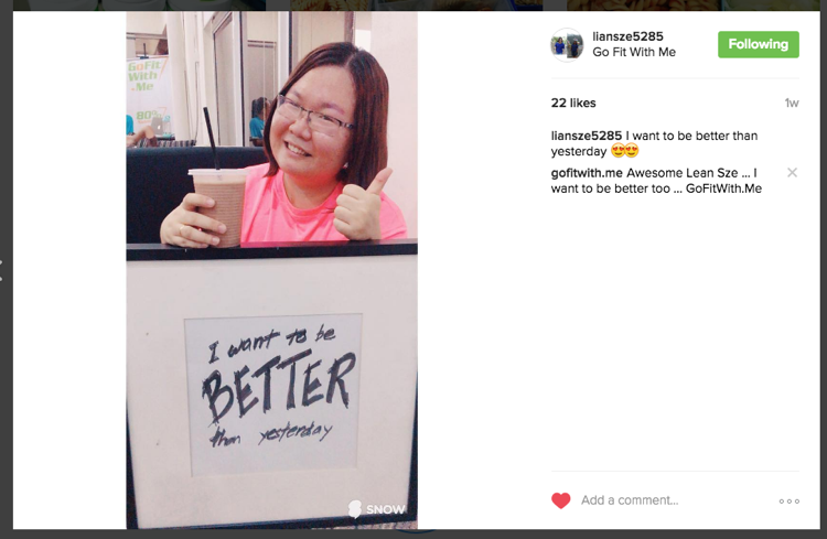A positive Instagram Post by Lian Sze - She want to be better than yesterday. Yes, we want too.