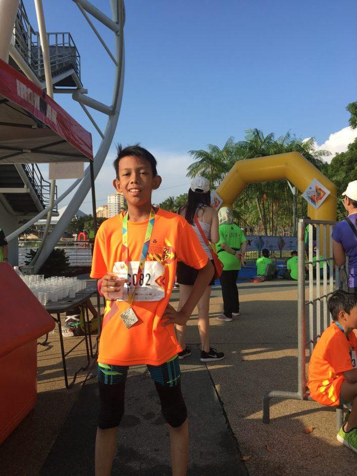 Hafiz at the finish line in Putrajaya Perdana Triathlon